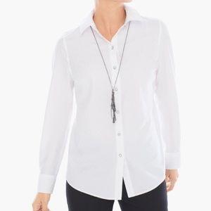 Chico's NWT White Jacquard-Dash Button Down Shirt